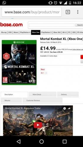 Mortal Kombat XL Xbox One £14.99 @ Base