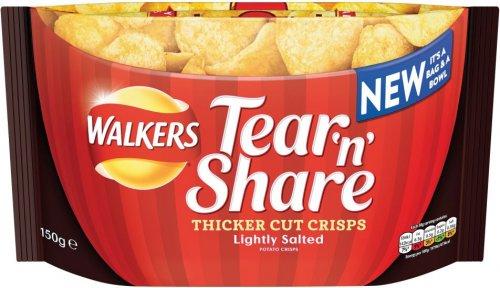 Walkers Tear'n'Share Thicker Cut Crisps Lightly Salted / Cheese and Onion / Salt & Malt Vinegar / Sweet Chilli (150g) was £1.99 now £1.00 @ Waitrose