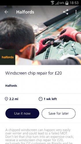 Windscreen chip repair £20 at Halfords for o2 priority customers