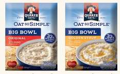 Quaker Oat So Simple Big Bowl - Original and Golden Syrup - £1 @ Poundland