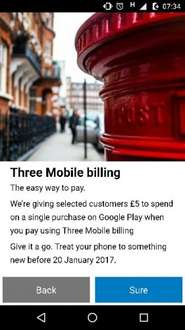 £5 free credit for google play store with Three mobile billing