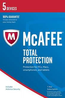 McAfee 2017 Total Protection - 5 Device (PC/Mac/Android) - £5 (Prime) £6.99 (Non Prime) @ Amazon