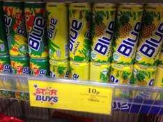 Blue fruit drink (pineapple or guava) 330ml can 10p at Home Bargains