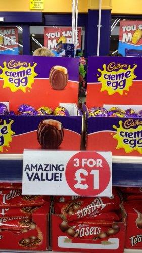 cadbury creme eggs- 3 @ £1 - Poundworld