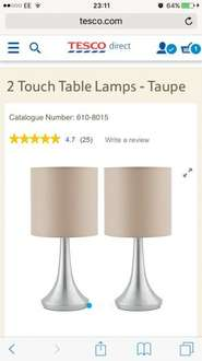 2 Touch Table Lamps - Taupe (back in stock) @ Tesco Direct £7.00 free C&C