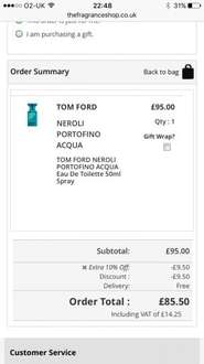 TOM FORD NEROLI PORTOFINO ACQUA  Eau De Toilette 50ml Spray - £85.50 @ Fragrance Shop (with code JAN10)