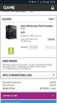 Astro A50 Gen 3 Wireless 7.1 Headset for PC & PS4 £179.99 @ Game.co.uk with code.