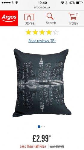 New York cushion £2.99 @ Argos