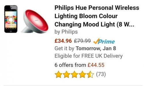 Philips hue Personal Wireless Bloom light £34.96 - Amazon Lightning Deal