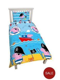 Peppa Pig Pirate Reversible Single Size Duvet Cover And Pillowcase Set £7.20 click n collect at very