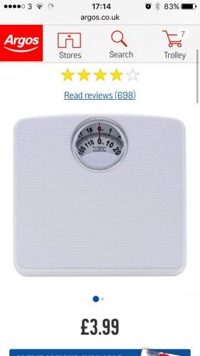 Bathroom scales £3.99 @ Argos