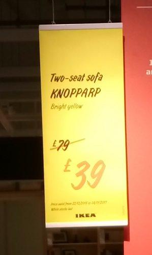 KNOPPARP yellow two-seat sofa for £39.00 @ IKEA Southampton