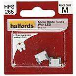Halfords Fuse Micro Blade LED 3,4,5,25,30 Amp 10p @ Halfords, glows red when blown