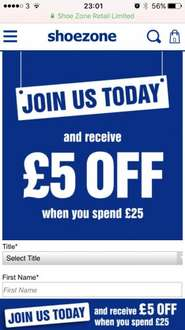 £5 off a £25 spend @ shoe zone