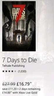 7 Days to Die £14 (With Gold) for 2 days xbox store