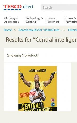 Central Intelligence DVD £3 Tesco Direct.  ( released 31/10/16)