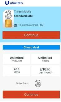 Three Sim Only Deal - unlimited texts/minutes & 4gb data - total deal £10pm x 12 months - £120 via USWITCH