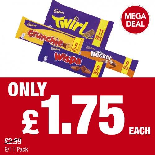 Cadbury Crunchie  9pk  / Twirl  11pk / Wispa  9pk / Double Decker 9pk  was £2.99 now £1.75 @ Premier stores