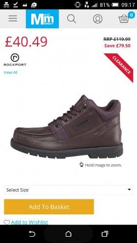 Rockport boots - £44.98 Delivered @ M&M Direct