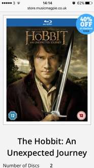 The hobbit an unexpected journey (used) Blu Ray - £1.19 @ Music Magpie