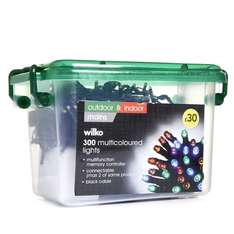 Wilko Christmas 300 Multifunction LED Lights Multicoloured with Black Cable (33m) - £7.50 @ Wilko (Free C&C)