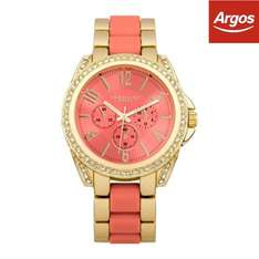 Identity Ladies Gold Tone with Coral Inlay Bracelet Watch £6.29 free delivery