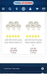 5 x LED 5W GU10 Lamps, Cool and Warm White £4.99 @ Toolstation