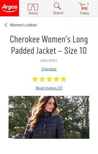 Women's Long Padded coat at Argos £16