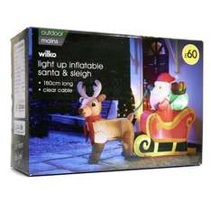 180cm Light Up Inflatable Santa & Sleigh was £60.00 now £15.00 instore @ Wilko