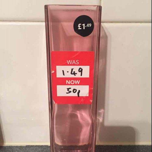 Dusky Pink slim vases only 50p each! instore @ Dunelm