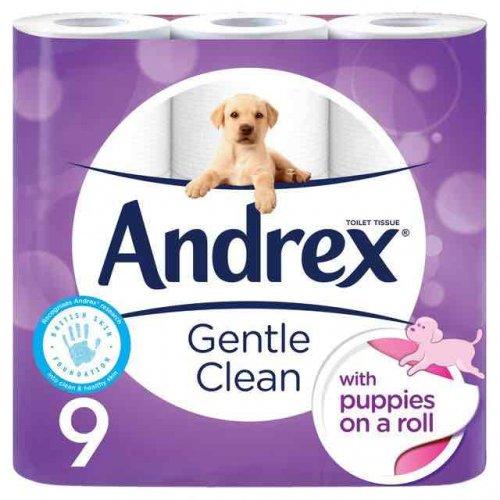 Andrex Gentle Clean Toilet Tissue 9 per pack. Now £3.50 Ocado. Was £4.49.