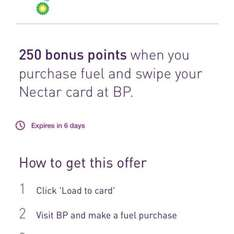 250 bonus nectar points with any fuel purchase at BP