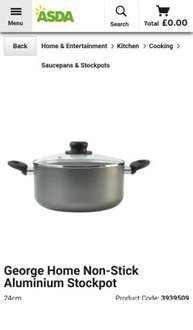 George Home Non-Stick Aluminium Stockpot - £5 @ ASDA Groceries