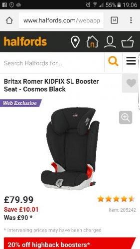 Britax Romer KIDFIX SL Booster Seat - Cosmos Black (2-3) @Halfords