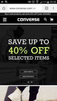 Converse Sale upto 50% off plus buy 3 sale items extra 30% off with code finalsale