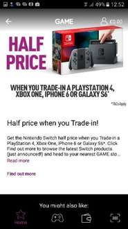 Nintendo Switch half price with trade in - £140 @ GAME