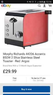 Morphy Richards 44206 Accents 850W 2 Slice Stainless Steel Toaster - Red £17.99 (price reduces at checkout) @ Argos/eBay