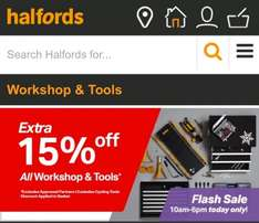Extra 15% off all Workshop and Tools. 10am - 6pm today only @ Halfords