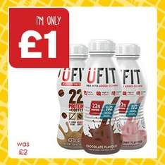 UFIT High Protein Shakes (310ml) Banana, Chocolate, Strawberry, Iced Latte was £2.00 now £1.00 @ One Stop Shops