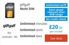 Giff gaff unlimited everything - £20 a month -  4g DATA- SIM ONLY