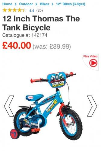 "Thomas tank 12"" bike at Smyths Toys for £40"