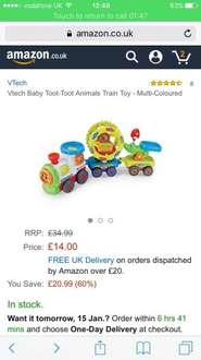 Vtech toot toot animals trains £14.00 (Prime) (£18.75 (Non Prime) @ Amazon reduced from £34.99