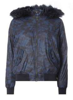 Camo Detachable Hood Bomber Jacket, reduced from £55 to £10 at Dorothy Perkins with free click and collect