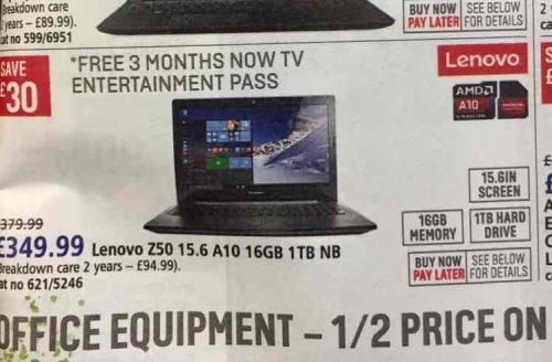 Lenovo Z50 AMD A10, 16gb ram and 1TB HDD £349 at Argos