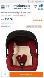 Mothercare Ziba Car Baby Seat - mothercare £30 was £70