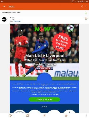 Free Now TV Sky Sports day pass (Man U v Liverpool)
