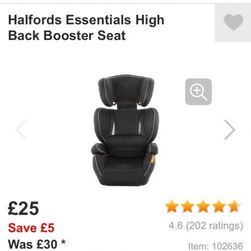Halfords child's booster seat £25 @ Halfords