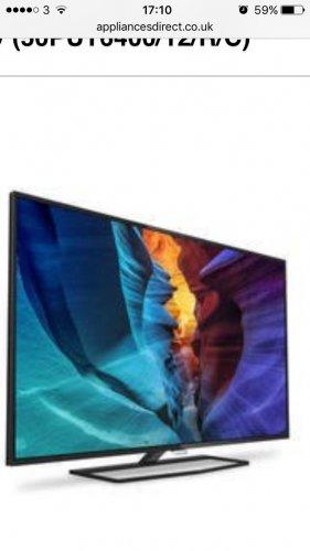 """Refurbished Phillips 50"""" 4K Ultra Hd Slimline TV £379.99 @ Appliances Direct"""