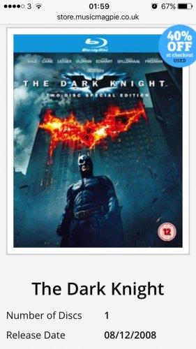 The dark knight Blu Ray £1.19 @ Music magpie