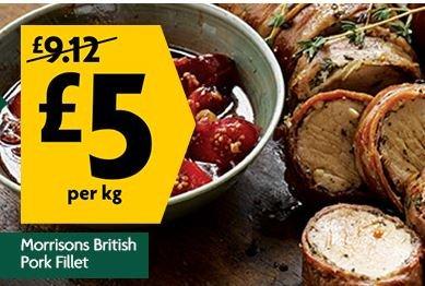 British Pork Fillet £5kg - MORRISONS
